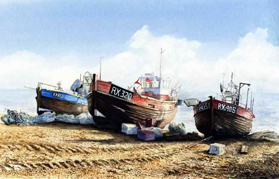 Fishing boats hastings david drury artist surrey for Fishing boat painting