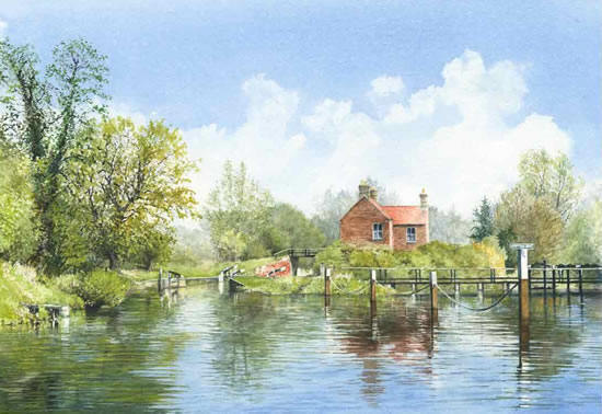 Approaching Walsham Gates Pyrford - Painting by Surrey Artist David Drury
